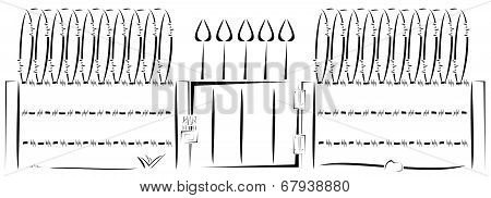 Drawing of fully wired fence vector