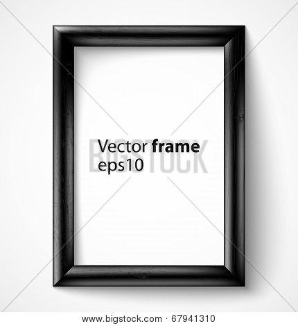 Black wooden rectangular 3d photo frame with shadow