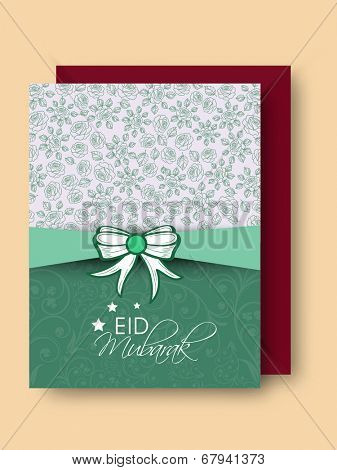 Elegant greeting card design for Muslim community festival Eid Mubarak.