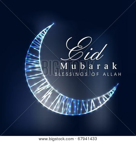 Shiny moon on blue background for the occasion of Muslim community festival Eid Mubarak celebrations.
