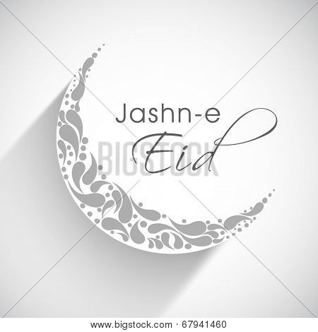 Beautiful floral decorated crescent moon on grey background for the celebration of Muslim community festival Jashn-e-Eid celebrations.