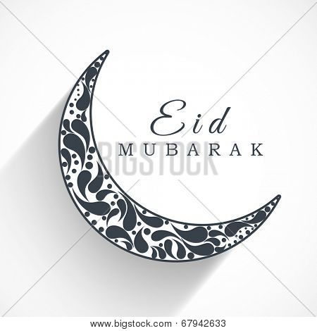 Beautiful floral decorated crescent moon in white and black colour for the occasion of Muslim community festival Eid Mubarak.