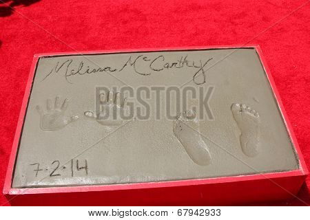 LOS ANGELES - JUL 2:  Melissa McCarthy Hand & Footprints at the Melissa McCarthy Hand and Footprint Ceremony at the TCL Chinese Theater on July 2, 2014 in Los Angeles, CA