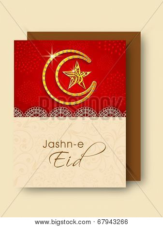 Jashn-e-Eid celebration greeting card design with golden crescent moon and arabic islamic calligraphy of text Eid Mubarak in star shape.