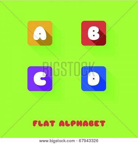 A B C D - Flat Design Button Alphabet