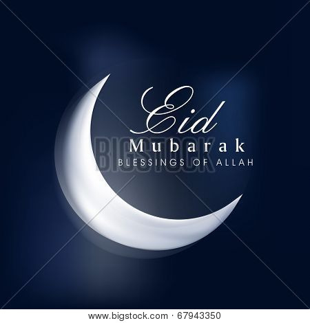 White crescent moon on blue background for the occasion of Muslim community festival Eid Mubarak celebrations.