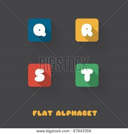 Q R S T - Flat Design Button Alphabet