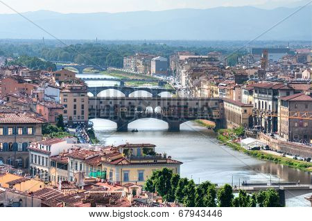Bridges over Arno river at sunset, Florence, Italy