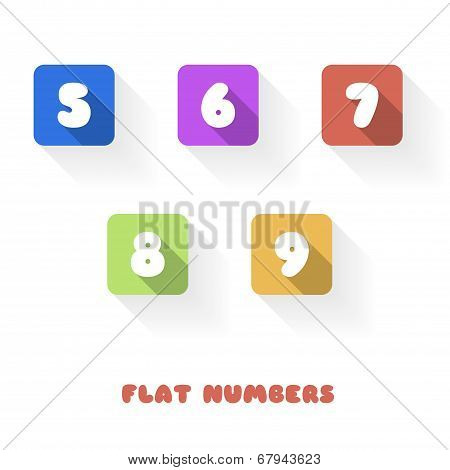 5 6 7 8 9 - Flat Design Numbers Buttons