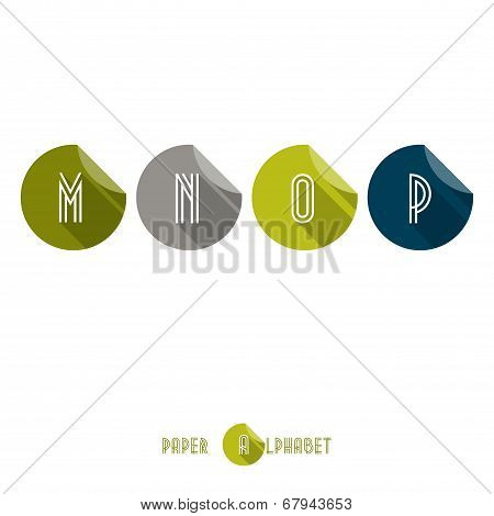 M N O P - Flat Design Paper Button Alphabet