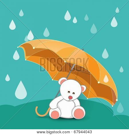 Cute little teddy bear under umbrella with rain drops falling on green background.