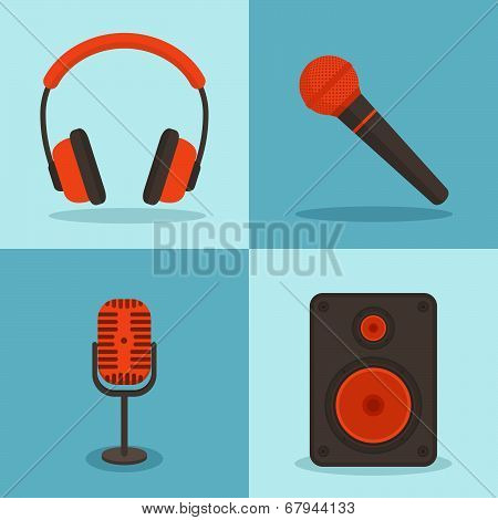 Vector Music Concepts In Flat Style. Set Of Icons - Microphones, Speakers