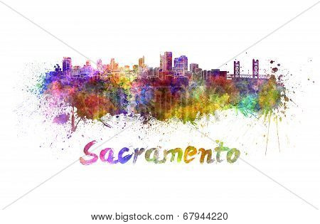 Sacramento Skyline In Watercolor