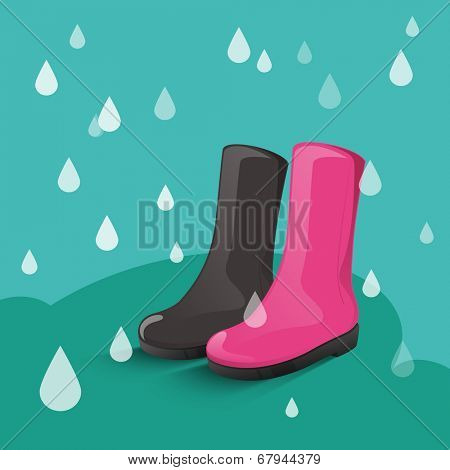 Monsoon season concept with pink and black boots on rain drops falling green background.