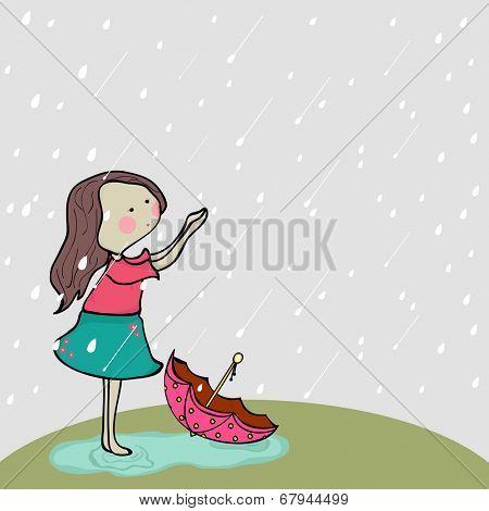 Cute little girl enjoying rains on nature background for Monsoon Season.