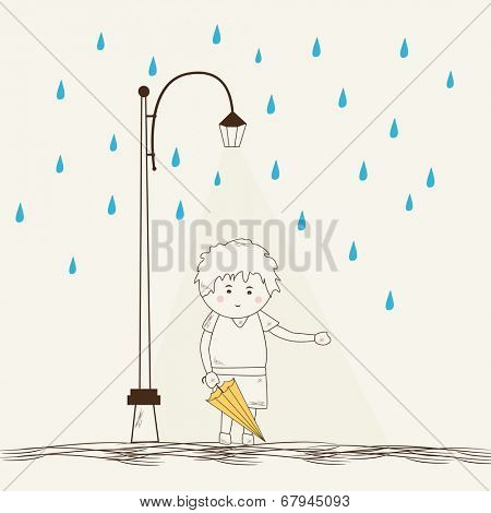 Sketch of a little boy holding an umbrella under streetlights on blue raindrops decorated beige background.