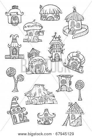 Sketch of cartoon vector houses.