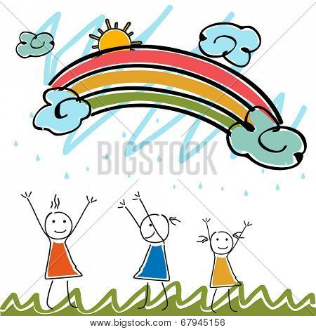 Kiddish monsoon season concept with happy cute doodles dancing in rainy season background.