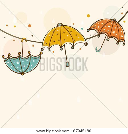 Stylish rainy season concept with colourful umbrellas on abstract background.