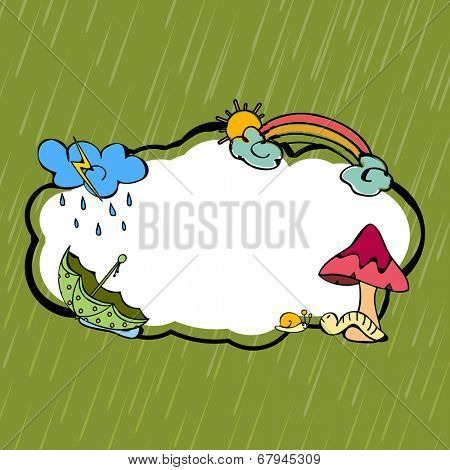 Kiddish monsoon season concept with clouds, rainbows, umbrella and mushroom with space for your text.