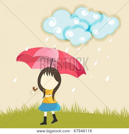 Cute little girl holding pink umbrella in raining background for monsoon season.