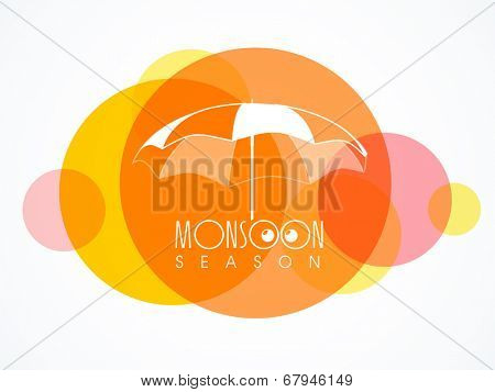 Stylish umbrella on colourful abstract background for monsoon season.
