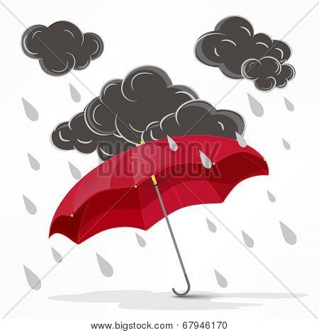 Black stormy clouds with raindrops and open pink umbrella on white background for monsoon season.