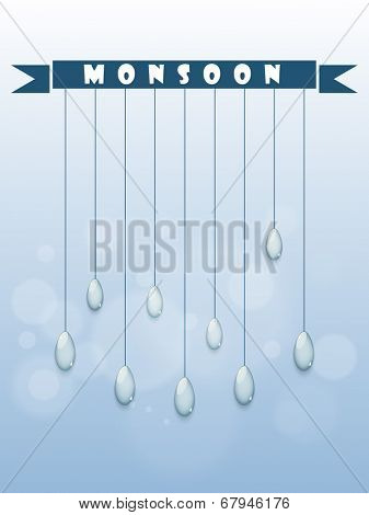 Beautiful greeting card design with hanging raindrops for monsoon season.