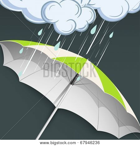 Open green and white umbrella and raindrops falling from floral decorate clouds on grey background for monsoon season.