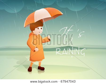 Stylish young boy holding umbrella in rain fall background with stylish text It's Raining.