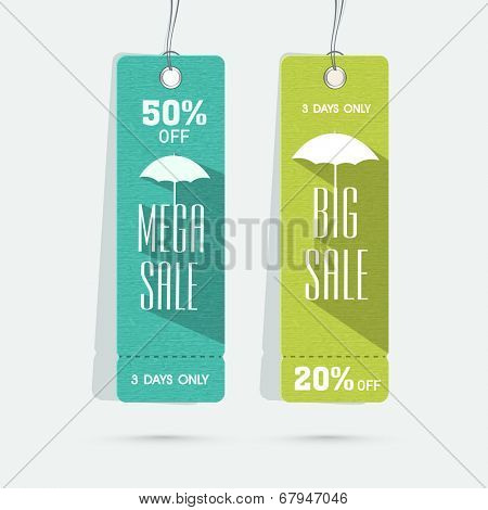 Stylish banners for Mega Sale or Big Sale upto 50% off on umbrellas.