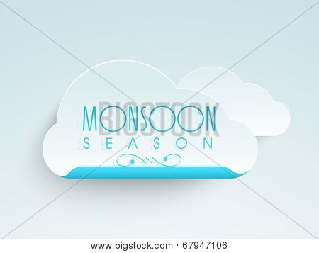 Stylish glossy cloud with blue text Monsoon Season.