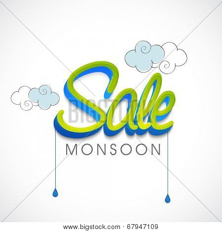 Stylish green text Sale with hanging blue raindrops and clouds on grey background.