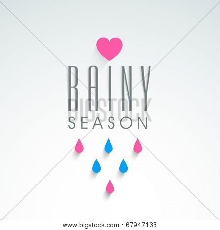 Beautiful greeting card design for Rainy Season with colourful raindrops and pink heart shape.