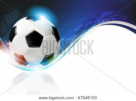 Soccer Ball On Blue Wavy Background