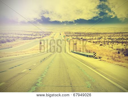 Endless Country Highway, Vintage Retro Effect.