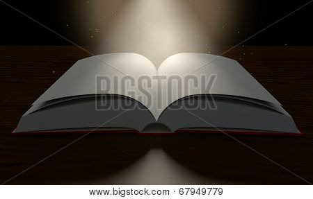 Blank Paged Book Open Spotlight