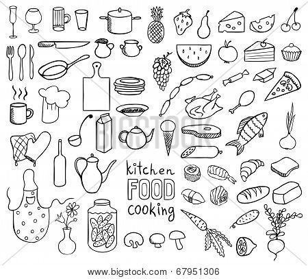 Food And Cooking Icons Vector Collection