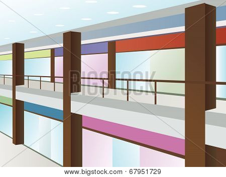Mall With Windows And Brown Columns, Vector