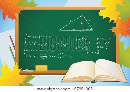Math And Geometry School Autumn Background With Blackboard, Books And Leves, Vector