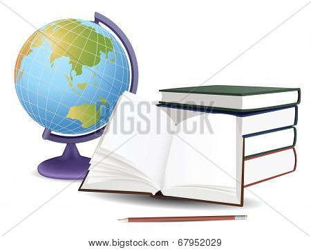 School Globe, Books And Pencil, Vector