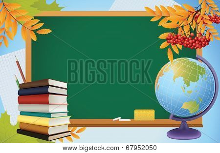 School Autumn Background With Blackboard, Globe, Books And Yellow Leves, Vector