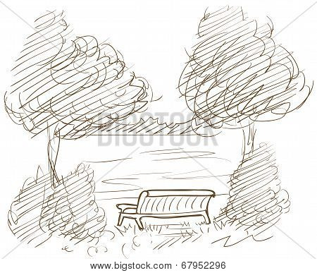 landscape with bench and view on lake vector