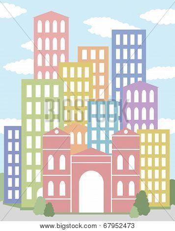 city with multicolored skyscrapers vector