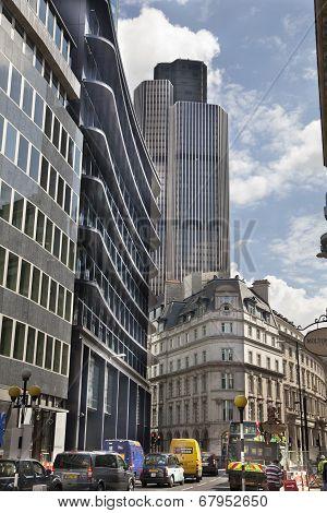 LONDON, UK - JUNE 30, 2014: City of London business aria street