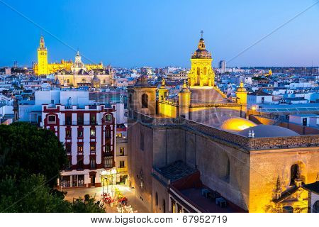 Seville Cathedral and cityscape downtown at dusk Sevilla, Spain