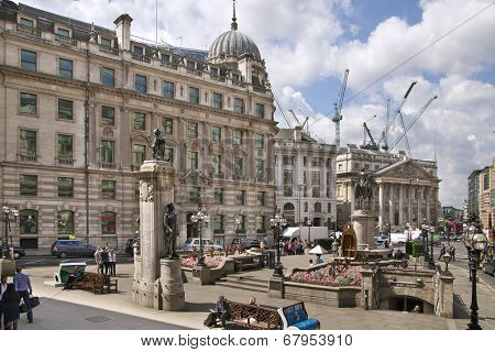 LONDON, UK - JUNE 30, 2014: Bank of England. Square in front of bank and underground station