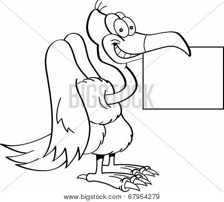 Cartoon Buzzard Holding a Sign