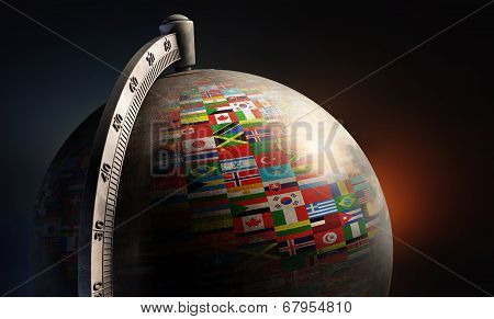 Vintage Metal Desktop Globe With Nation Flags