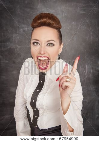 Angry Screaming Teacher Threaten By Finger
